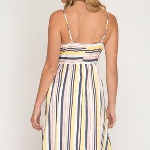Dresses - MULTI STRIPED WOVEN CAMI DRESS WITH FRONT TIE DETA